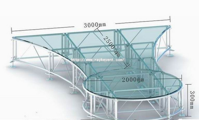 aluminum glass stage